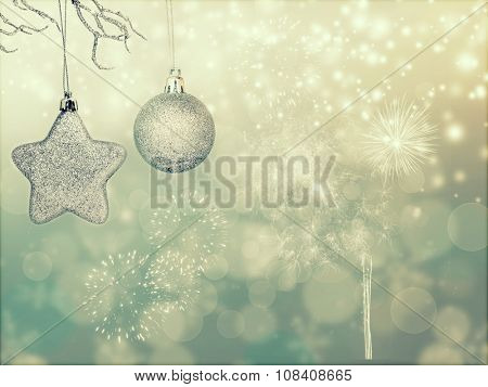 Sparkling Christmas background with silver Christmas ball, gift box and star