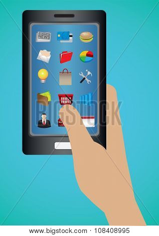 Software Applications Web Icons On Smart Phone Touch Screen