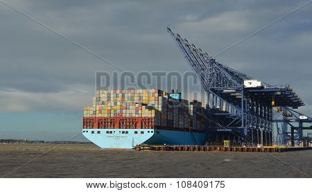 Container ship being unloaded at Felixstowe docks suffolk
