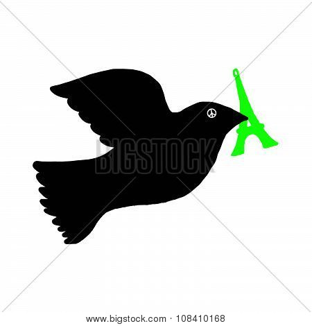 Illustration Vector Doodle Hand Drawn Of Dove Of Peace With Green Eiffel Tower In Its Beak And Peace