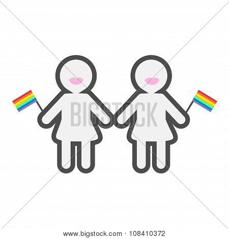 Gay Marriage Pride Symbol Two Contour Women With Lips And Rainbow Flags Lgbt Icon Flat Design