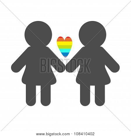 Gay Marriage Pride Symbol Two Woman Silhouette Lgbt Icon Rainbow Heart Flat Design