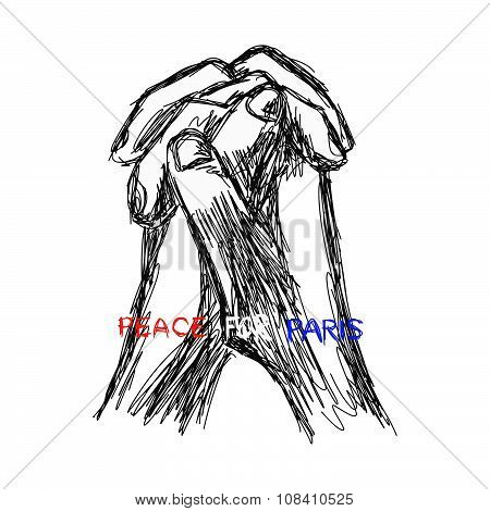 Illustration Vector Doodle Hand Drawn Of Sketch Praying Hands With Words Pray For Paris.