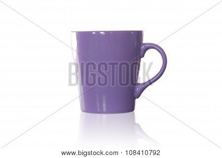 Violet Coffee Mug Isolated On White Background