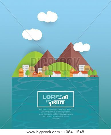 Cityscape. Architecture of a small town by the river. Flat style vector illustration.