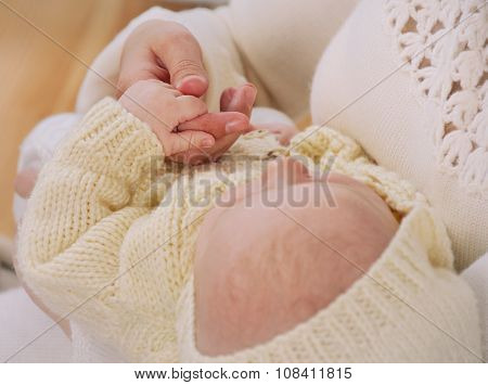 Sleeping Newborn Baby Hold Finger His Mother