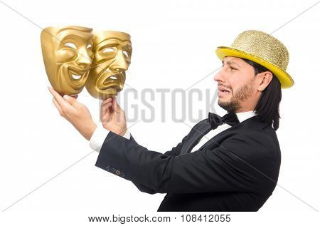 Man with theater mask isolated on white