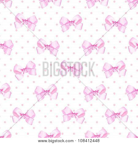 Delicate Satin Pink Bows Seamless Vector Print