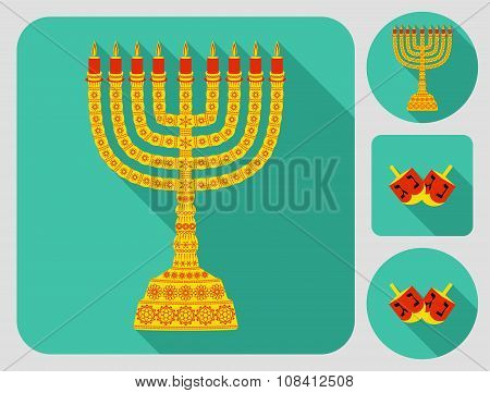 Color hanukkah icons with menorah and dreidels. Flat long shadow design.