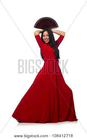 Young woman dancing isolated on white