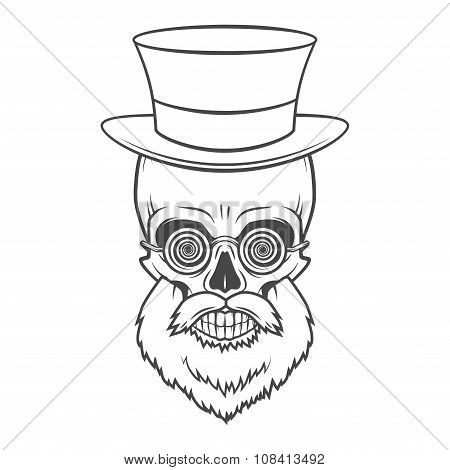 Bearded skull with hypnotic grasses and top hat. Crazy steampunk professor portrait. Dead victorian