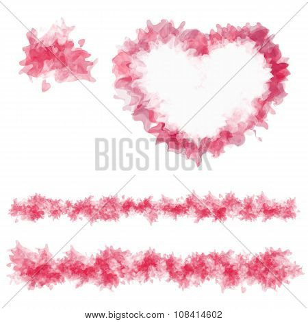 Red spot isolated on white background. Sample abstract heart and lines.
