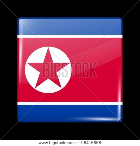 Flag Of North Korea. Glassy Icon Square Shape