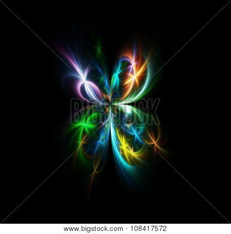 Delightful fractal fireworks butterfly on black background