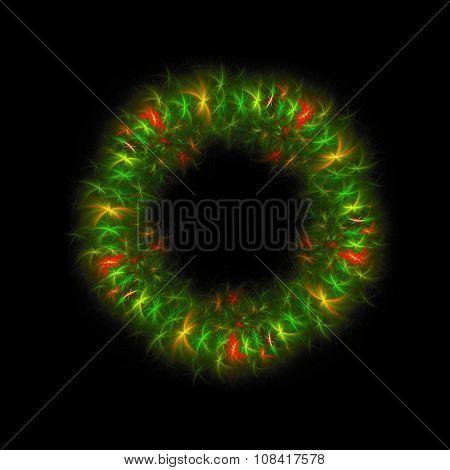 Fractal Christmas wreath on black background