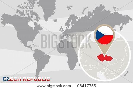 World Map With Magnified Czech Republic
