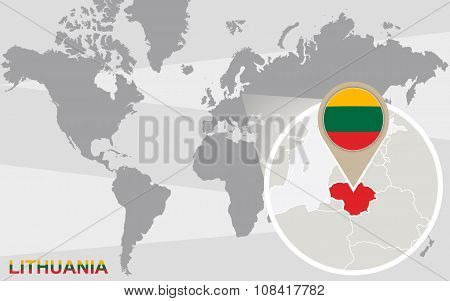 World Map With Magnified Lithuania