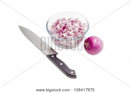 Chopped Red Onion In Glass Bowl, Bulb Onion And Knife