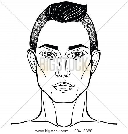 Handsome Arab or Hispanic mans head template.