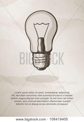 Bulb on grunge background.