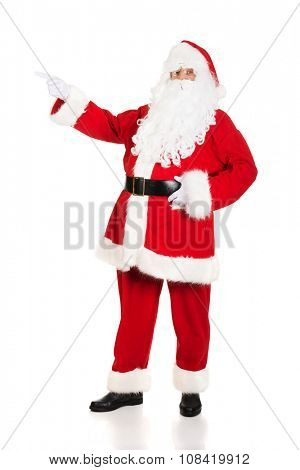 Santa Claus pointing to the left