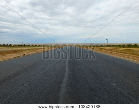 Steppe and highway, landscape in Kalmykia