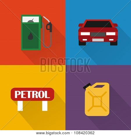 Petrol station concept vector design flat set