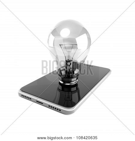 Light Bulb Inserted In Smart Phone Of Black Glass