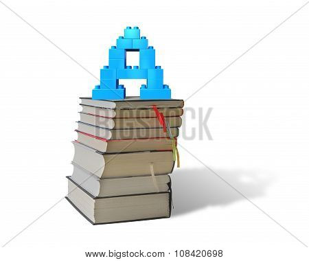 Alphabet Letter A Shape Blocks On Stack Books