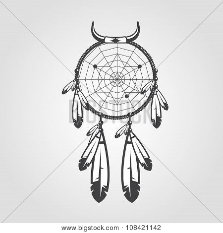 Indian Dream Catcher Isolated On White Background. Vector Illustration For Your Artwork, Tattoo, Pos