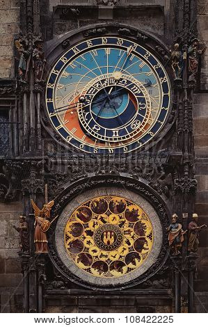 Astronomical Town Hall Clock In Prague Orloj, Czech Republic.