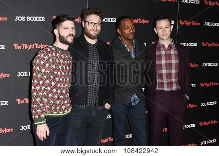 NEW YORK-NOV 16: (L-R) Jonathan Levine, Seth Rogen, Anthony Mackie &Joseph Gordon-Levitt attend the screening of