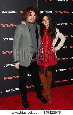 NEW YORK-NOV 16: Designer Arden Wohl (R) and Jonah Freeman attend the New York screening of Columbia Pictures'