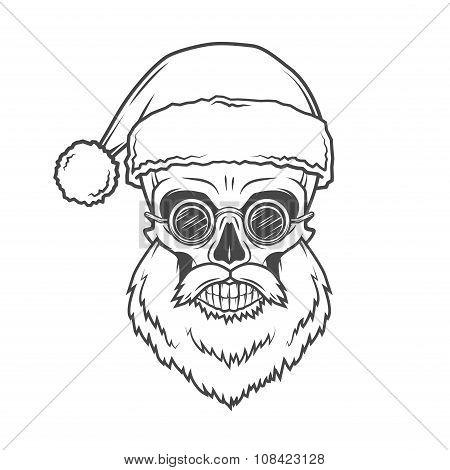 Bearded Skull Santa Claus with glasses poster. Heavy Christmas old man portrait. X-mas t-shirt illus