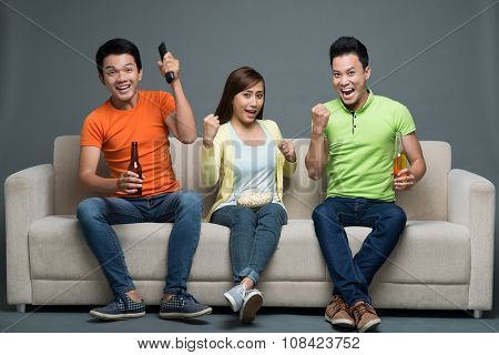 Cheering for sports team