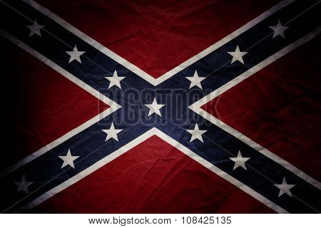Closeup of textured Confederate flag