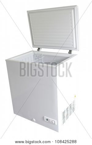 Open freezer isolated on plain background