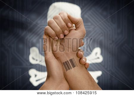 Barcode Id Number On Wrist Of Dark Skinned Person And Flag On Background - Jolly Roger Flag - Symbol