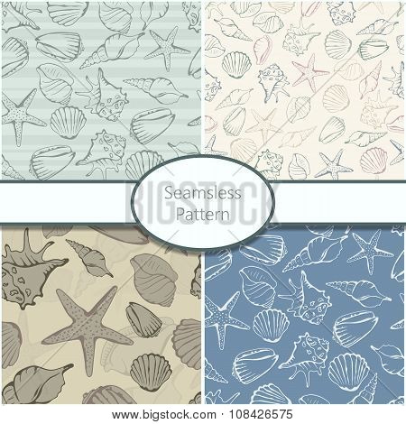 Set of 4 seamless patterns with shells.