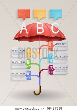Option Banner With Red Umbrella.