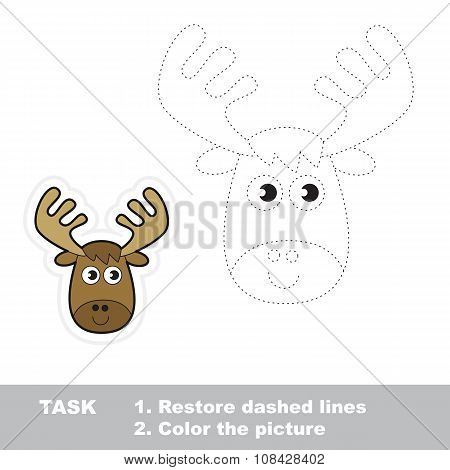 Vector trace game. Elk to be traced.