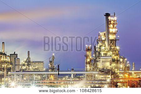 Oil Refinery, Petrochemical Industry Night Scene