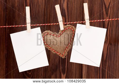 Valentines day heart toy and blank photo frames