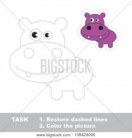 Vector trace game. Hippo to be traced.