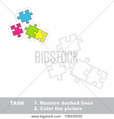 Vector trace game. Puzzle to be traced.