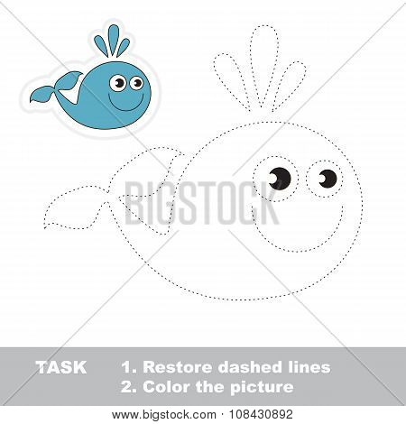 Vector trace game. Whale to be traced.