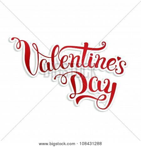 Original Hand Lettering Happy Valentine's Day On White Background