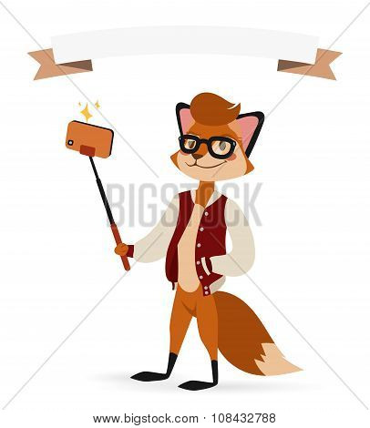 Selfie photo fox boy hipster with glasses vector portrait illustration on white background