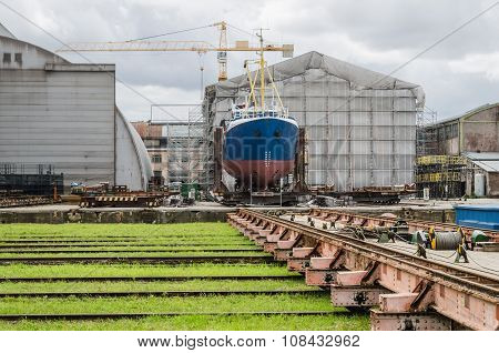 The Ship On The Stocks In The Shipyard