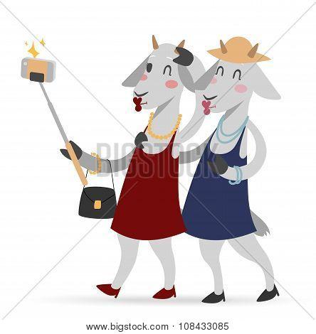 Selfie photo goat girls couple frinds vector portrait illustration on white background